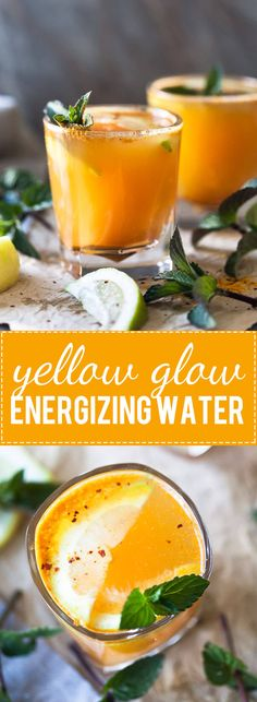 Yellow Glow Energizing Water with Turmeric, Ginger, Cinnamon, and Chili to help boost your immune system. via @vibrantplate #water #drink