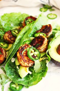 Spicy Shrimp and Avocado Lettuce Wraps [21 Day Fix]