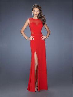 Red High Neck Side Slit Chiffon Prom Dress PD1407 www.homecomingstore.com $180.0000