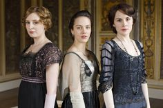 Downton Abbey - Lady Mary Crawley and Lady Edith Crawley with Lady Sybil Crawley