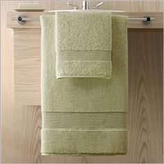 Elegance by Kassatex, 100% Turkish Cotton Bath Towels are soft, plush and absorbent. At 750 gsm, they have a heavy weight luxury feel, but dry 25% faster. Shown: Thyme (Spring Green). Collection starting at $9.95