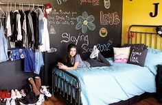 Want a chalkboard like Stuck in the Middle star Jenna Ortega? Take room decor inspiration from the room she shares with her younger sister. Find out how she made this wall for her bedroom!