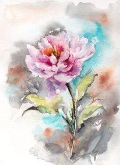 Aquarelle originale peinture, rose pivoine peinture, Art de l