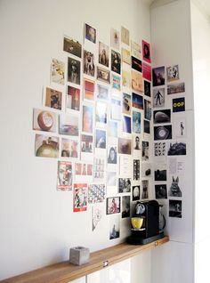 Photo walls and photo collages Ideas to enchant your home - Photowall Ideas Diy Wand, Diy Wall Art, Wall Decor, Bedroom Decor, Bedroom Bed, Postcard Display, Postcard Wall, Diy Postcard, Photowall Ideas