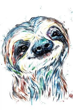Smiling Sloth, Baby Sloth, Cute Sloth, Griffon Tattoo, Sloth Drawing, Sloth Tattoo, Canvas Art Prints, Animal Art Prints, Animal Drawings