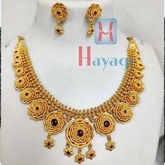 Short Necklace Rose Flower Design 1 Gram Gold Jewellery, Temple Jewellery, Gold Jewelry, Short Necklace, Necklace Set, Flower Designs, Bangles, Pendants, Engagement