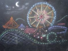 Creator's Joy: Ferris Wheel at Night Chalk Pastel Drawing chnge to 1 pt perspective Pastel Drawing, Pastel Art, Sidewalk Chalk Art, Circus Art, Chalk Drawings, School Art Projects, Chalk Pastels, Chalkboard Art, Art Lesson Plans