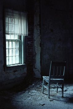 Chair in patient bedroom, shot by moonlight, Taunton State Hospital, 2006