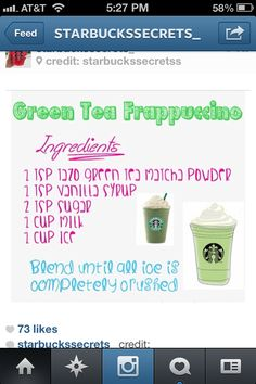 How to make a Green Tea Frappucino (since I am apparently addicted to these now)