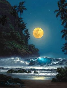 """""""Midnight Gold"""" by Hawaii seascape artist, Roy Tabora. Moon Pictures, Pretty Pictures, Beautiful Moon, Beautiful Images, Symphony Of The Seas, Shoot The Moon, Jolie Photo, Beautiful Landscapes, Beautiful Scenery"""