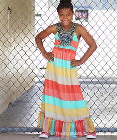 Heather Gray & Yellow Stripe Ruffle Lace Maxi Dress - Girls | zulily