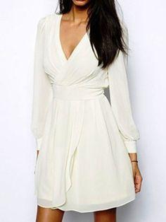 White Deep V Neck Backless Waisted Chiffon Dress
