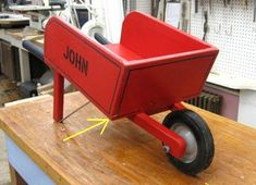 Wood Toy Wheelbarrow - Wooden - All Original Red Paint & Graphics