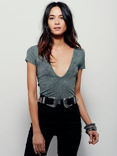 Free People Deep V Rib Tee, $48.00