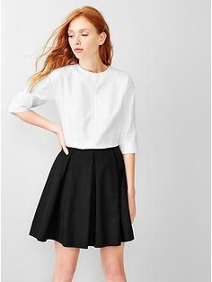 Colorblock Fit and Flare Dress