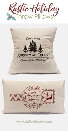 Deck your Halls with rustic farmhouse décor this season! These adorable canvas pillows will add the perfect touch of vintage nostalgia to your rustic holiday décor!
