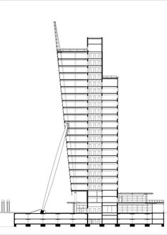 Renzo Piano Building Workshop - Projects - By Type - KPN Telecom Office Tower Light Building, High Rise Building, Architectural Section, Architectural Sketches, Tower Design, Renzo Piano, Architecture Plan, Site Analysis, Skyscrapers