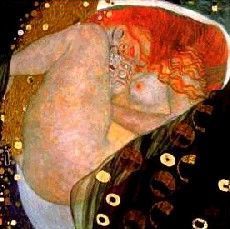 Gustav Klimt, Danae. Stylized eroticism, Danae was visited by Zeus and became pregnant with her son Perseus.