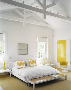 Browse the Domino Galleries for thousands of stylish home decor inspiration, photos, furniture ideas and accessories. Explore interior design styles and furniture layouts for every room and color. Master Bedroom, Bedroom Decor, White Bedroom, Yellow Bedrooms, Modern Bedroom, Bedroom Furniture, Bedroom Color Combination, Yellow Walls, Yellow Accents