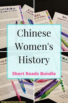 We have to strive to teach about more women in history. If you teach world history or Asian history, include these short reads about Chinese women in your class. This TpT bundle includes two women and two women's history issues specific to Chinese history. Every one is Common core aligned too. Check them out in my TpT store today. #historyresources #womeninhistory #womenshistorymonth