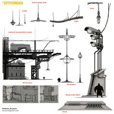 The Ottoman – Street Props Pack, Vladimir Zyrianov Environment Concept Art, Dieselpunk, Ottoman, Packing, Architecture, Street, Artwork, Bag Packaging, Arquitetura