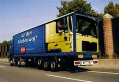 German Truck ART - The windshield facing the back & a driver has been painted in the driver's seat appear like he's driving backwards. ♥___________________________ Reposted by Dr. Veronica Lee, DNP (Depew/Buffalo, NY, US)