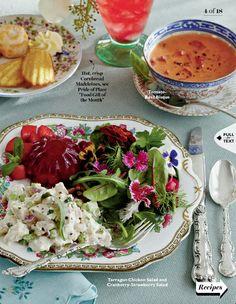 Tarragon Chicken Salad & Cranberry-Strawberry Salad With Tomato Basil Bisque....:)