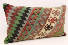Vintage Lumbar Kilim Pillow Cover 16 x 28 Trendy by kilimwarehouse