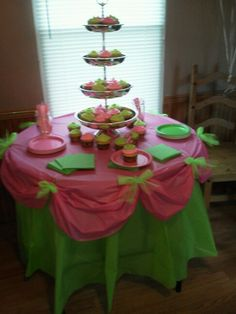 Personalized Table Cloth Pink and Green Birthday Party and Candy