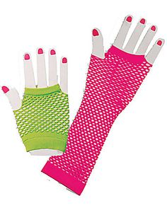 80's Neon Fishnet Glove Set | Cheap 80's Halloween Costume for Accessories & Makeup