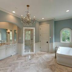 Mediterranean Revival Speculative Home, River Oaks Spanish Bathroom, Mediterranean Bathroom, White Trim, Bathroom Interior, Interior Design Living Room, Bathroom Ideas, Stucco And Stone Exterior, Herringbone Tile Floors, Houston