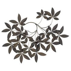 """Spray of Leaves Metal 48"""" Wide Wall Decor"""