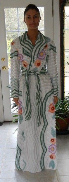 ON HOLD White with green and floral vintage look chenille robe