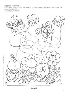 od Kinder world. Tracing Worksheets, Preschool Worksheets, Pre Writing, Bugs And Insects, Colouring Pages, Fine Motor Skills, Pre School, Preschool Activities, Kids And Parenting