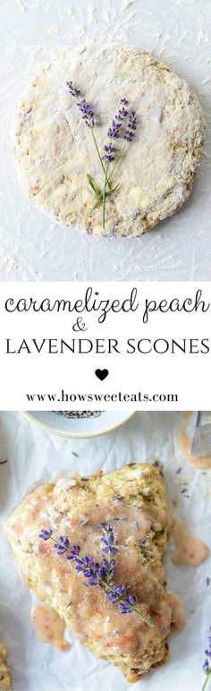 Caramelized Peach and Lavender Scones - Bread Recipes Lavender Scones, Peach Scones, Lavender Fields, Breakfast Recipes, Dessert Recipes, Breakfast Scones, All You Need Is, Lavender Recipes, Gourmet