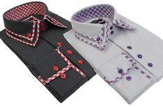 Mens Italian Double Button Collar Shirt White Black Smart Polka Dot Tailored Fit