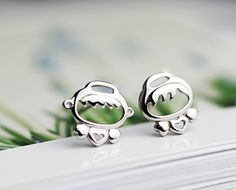 Tiny Cute Girl and Boy Sterling Silver Stud