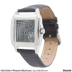 You'll love the way this Women's Watch fits on your wrist! The Ink & Echo I Women's Black Leather Square Watch designed by Artist C.L. Brown features an abstract kinetic light painting design enhanced with Photoshop. Own a unique timepiece for yourself! Watch is 3-hand analog Japan Quartz® with a buckle closure and comes with a battery. Watches come with a 1 year manufacturer's limited warranty. This product is recommended for ages 13+.