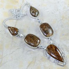 """STUNNING UNIQUE BRONZITE SILVER NECKLACE 18 3/4""""  *FREE SHIPPING!* #Chain"""
