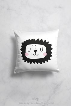 Scandinavian nursery pillow with a lion by OttoandPixelsDesign on Etsy