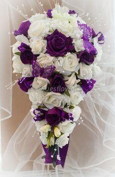 Wedding Flowers Brides teardrop Bouquet in Cadburys Purple & Ivory in Home, Furniture & DIY, Wedding Supplies, Flowers, Petals & Garlands | eBay