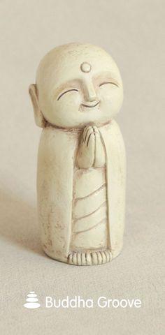 Healing and Calming Jizo Monk Statue, 5 Inches Bonsai, Zen Home Decor, Wood Carving, Buddhism, Indoor Outdoor, Miniatures, Sculpture, Antiques, Artist