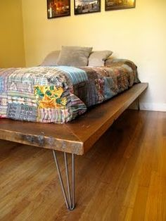 """DIY platform bed with hair pin legs. Repurpose drawers from Habitat for Humanity add piano hinge closure and a clasp for locking to give it a vintage look."""