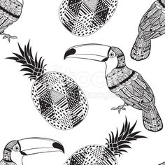 Seamless pattern with toucans and pineapples. royalty-free stock vector art