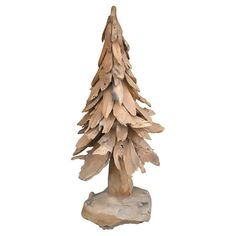 A perfect festive accent during the holiday season, this lovely tree decor showcases a wood frame and neutral palette.  Product: