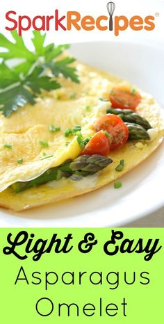 Light Asparagus Omelet. I just made this one this morning and it is going to be one of my favorite breakfasts!!| via @SparkPeople #eggs #breakfasts #omelets