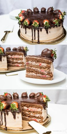 Light and fluffy, delicious chocolate cake. With strawberry flavors, a perfect hit for any party.