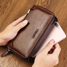 Multi-function Business Clutch Bag High-capacity Genuine Leather Oil Wax Wallet - Banggood Mobile