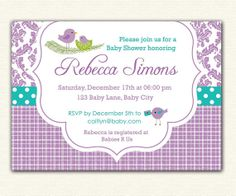 25 best baby shower invitations images on pinterest baby girl baby shower invitation printable damask bird with nest for boy and girl purple teal lavender turquoiseowls tho maybe filmwisefo