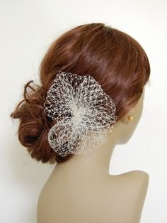 Simple Birdcage Veil Poof Comb  V008 made to by FascinateMeLLC, $35.00